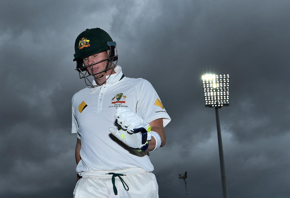Australian captain Steve Smith leaves the field