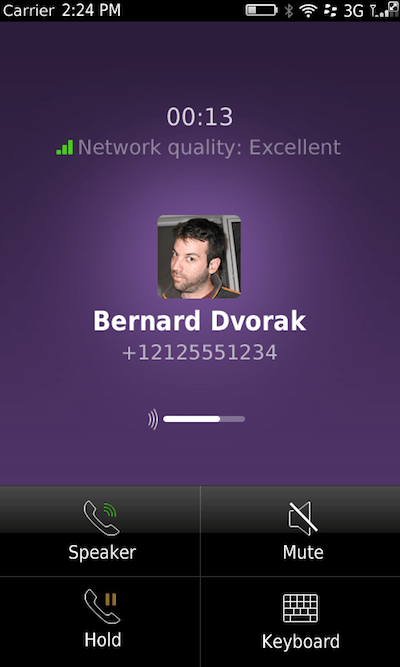 call screen Viber finally gives BlackBerry OS5 and OS7 users a voice (free voice calls, that is)
