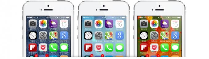 ikony na tle różnych tapet smartfona
