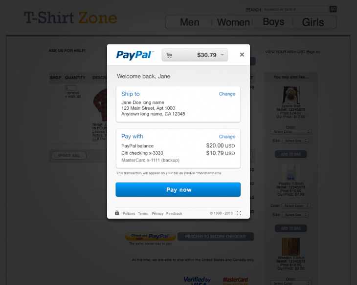 ryi 730x584 PayPal makes buying products faster with its new in context checkout process, available by June