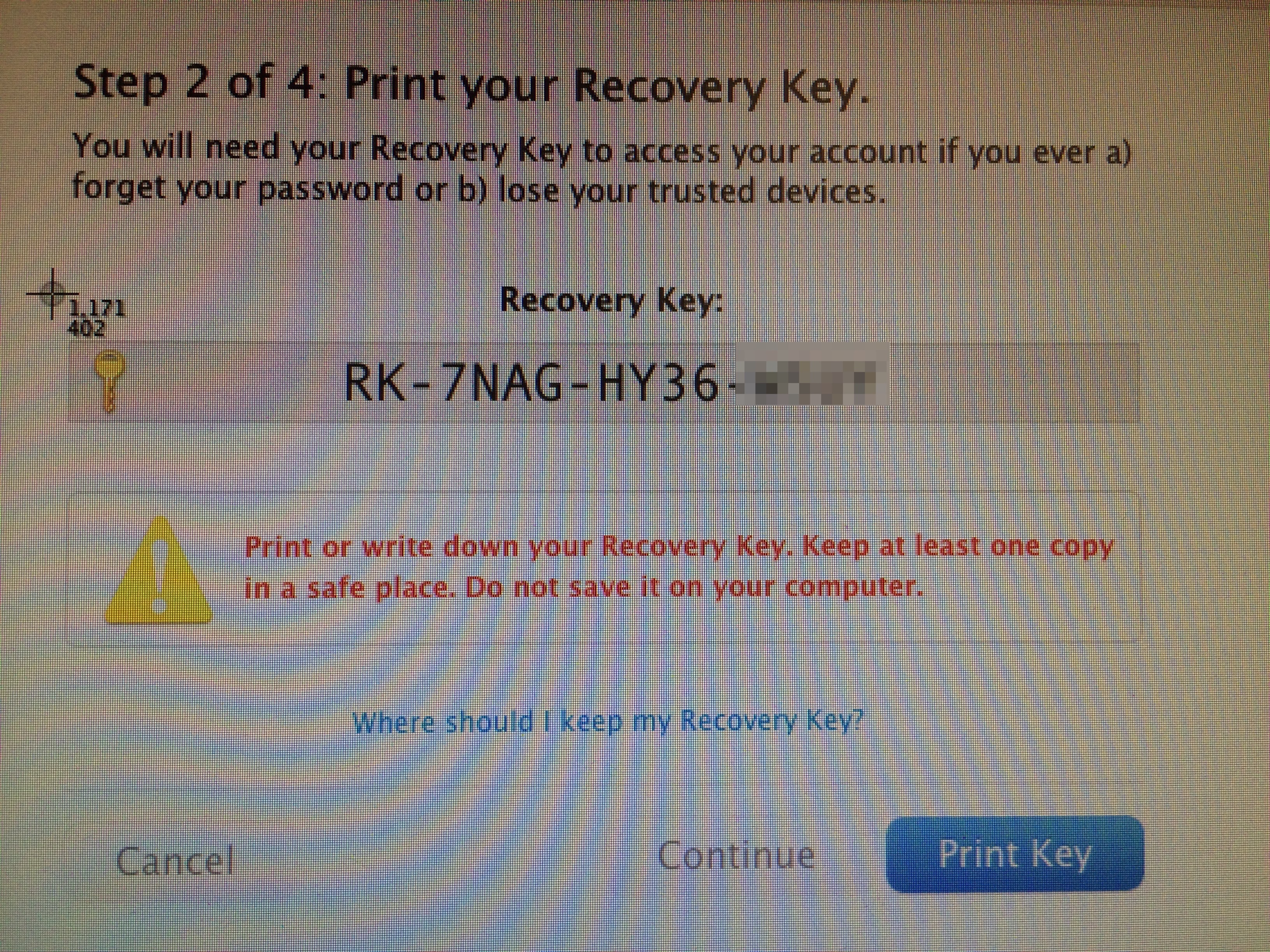 The Dark Side of Apple s Two Factor Authentication Screenshot recovery key Apple ID verification