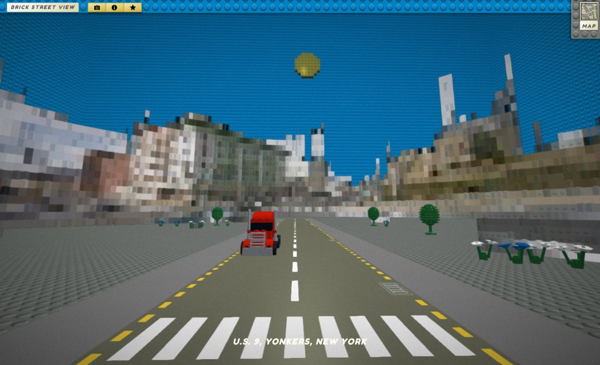 Explore all of Google Maps in Lego form with this Web app Brick Street View Lego