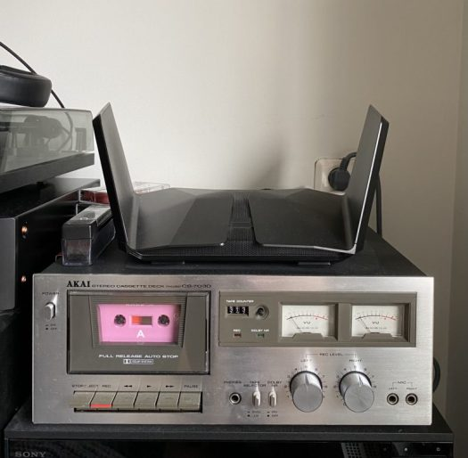 nighthawk router on top of tape deck