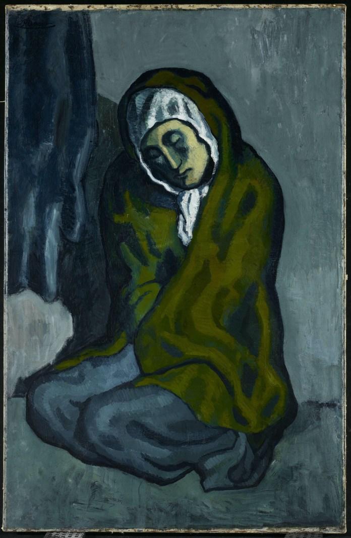 El mendigo agazapado es una obra importante del período azul de Picasso.