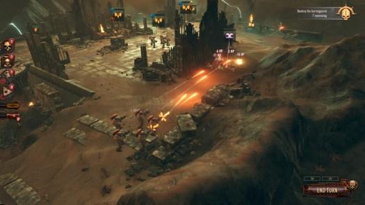 A screenshot from Warhammer 40K Battlesector depicting combat.