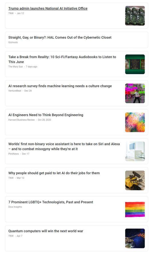 a screenshot of Google News results