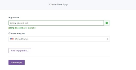 Heroku new app form