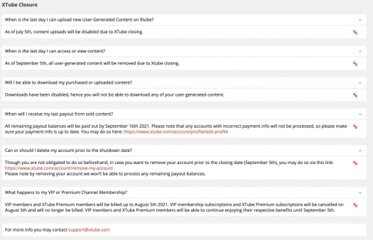XTube closure FAQ page