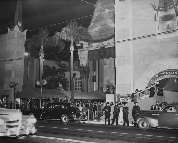 View from the street of the Chinese Theatre as guests arrive for the Academy Awards.