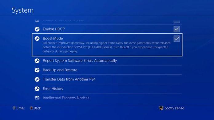 Boost Mode yang terdapat pada PS4 Pro