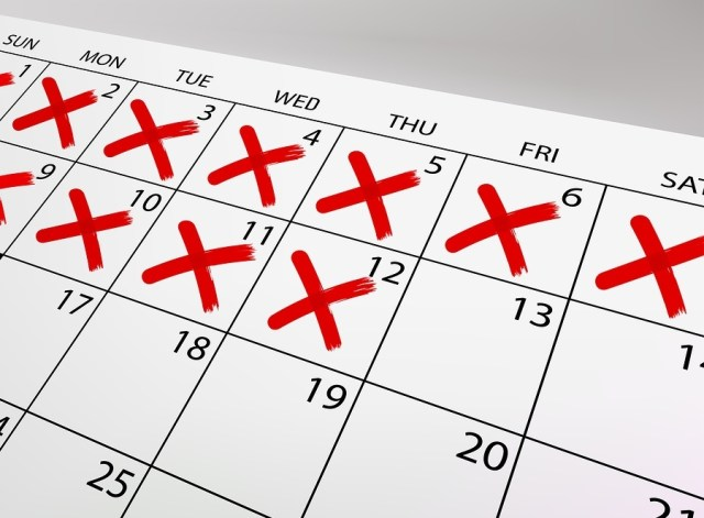 Calendar with strikethrough crosses fields. Vector Image