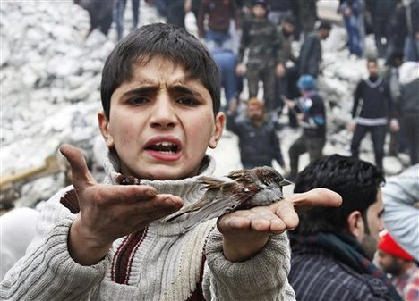 File - A Syrian boy holds a bird in his hand that he said was injured in a government airstrike hit the neighborhood of Ansari, in Aleppo, Syria, Sunday, Feb. 3, 2013.
