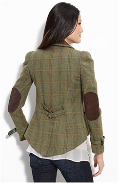 Womens Tweed Blazer With Elbow Patches