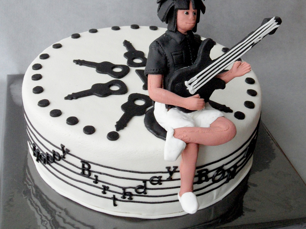 Music Cake With Relaxed Bass Guitar Player Cakecentral Com