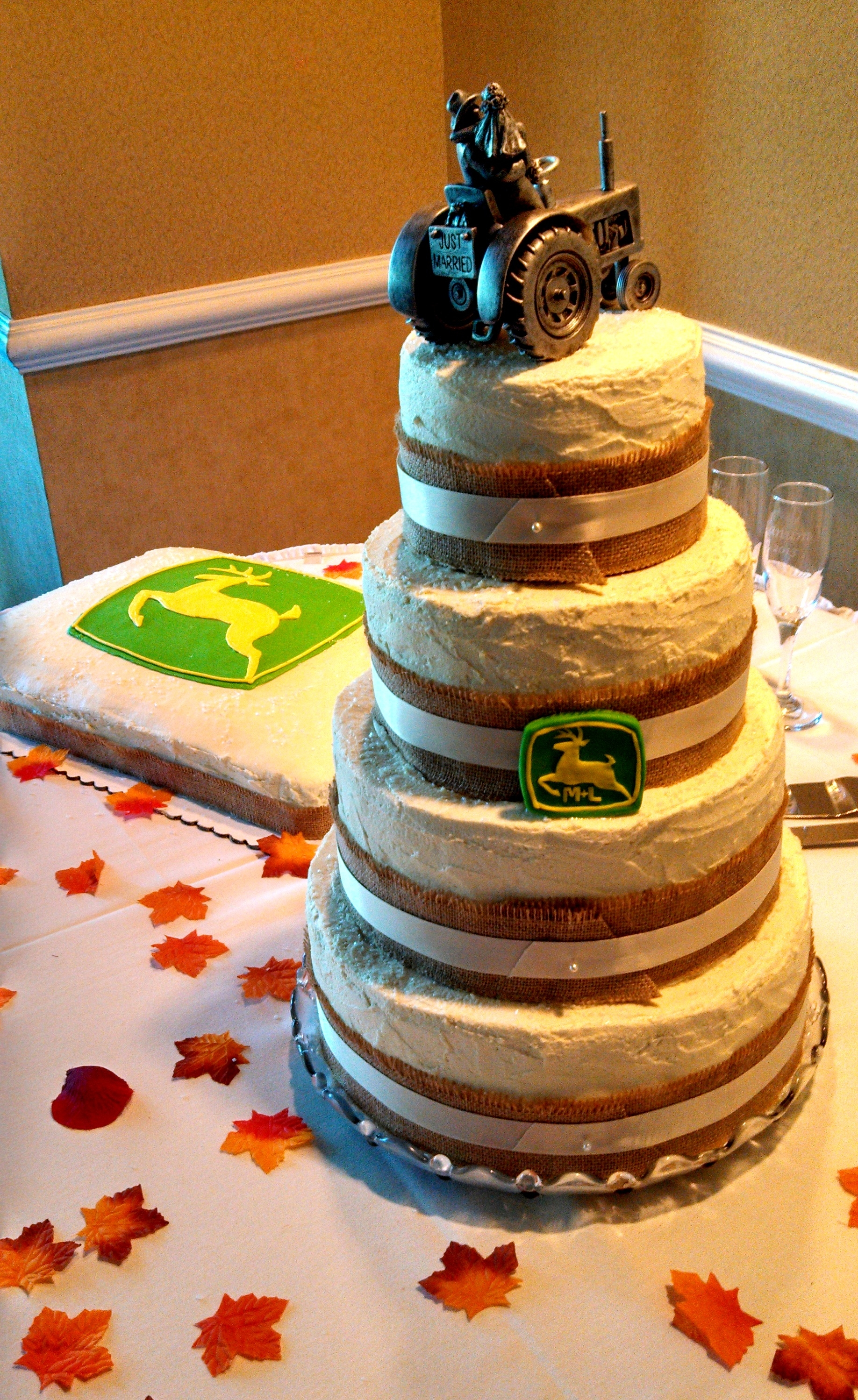 Rustic 4 Tier Wedding Cake And John Deere Groom S Cake