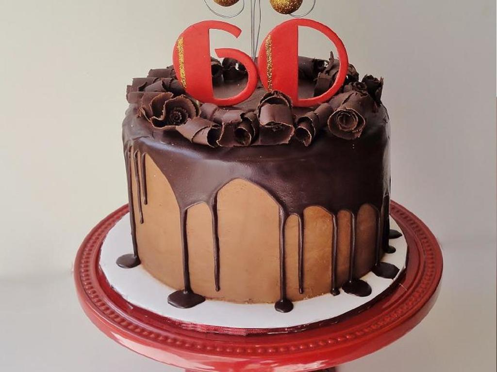 60th Birthday Cake For A Man 8 French Vanilla Cake With Chocolate Buttercream Frosting A Chocolate Ganache Drip And Filled Inside With A Cakecentral Com