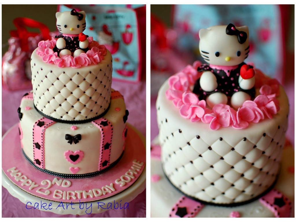For A Pinkblack White Hello Kitty Themed Birthday Party All Decorationsfigures Are Edible Including The Fondant Hello Kitty Cakecentral Com