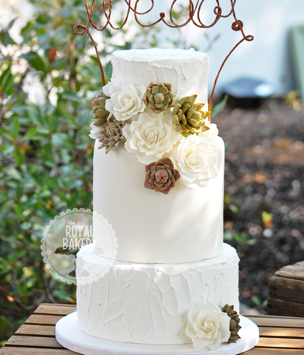 Top Succulent Wedding Cakes   CakeCentral com Roses And Succulents Wedding Cake