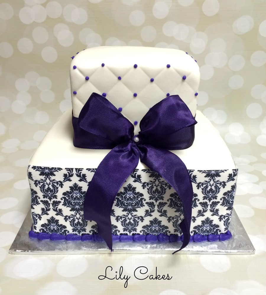 Square Wedding Cake With A Damask Edible Image Print
