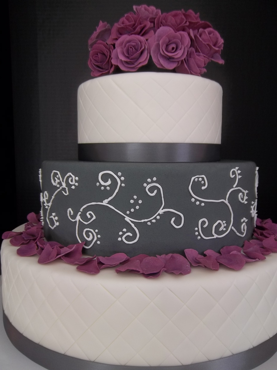 Purple And Grey Quilted Rose Wedding Cake