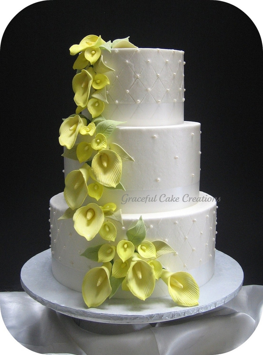 Yellow Calla Lily Wedding Cake   CakeCentral com Yellow Calla Lily Wedding Cake on Cake Central