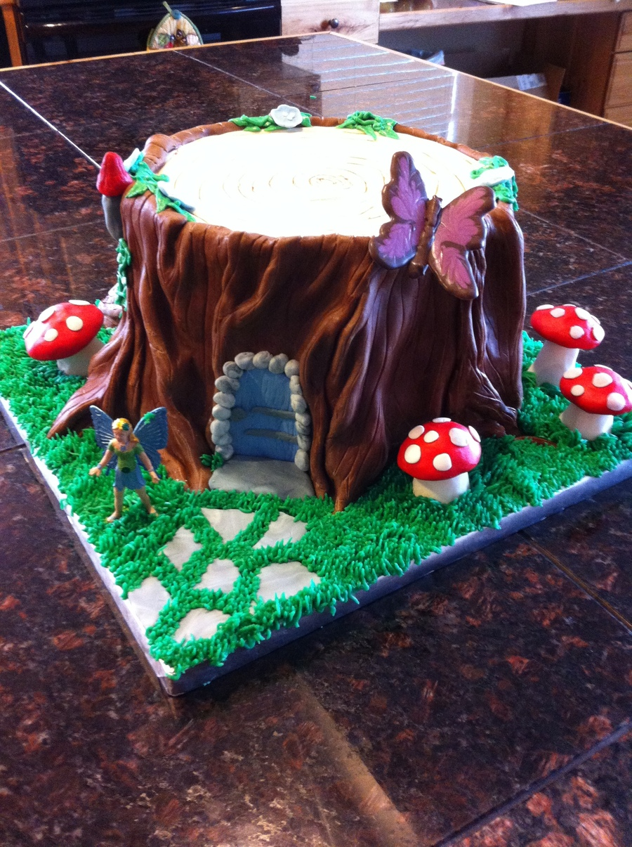 Tree Stump Fairy House For A Little Girl Fondant