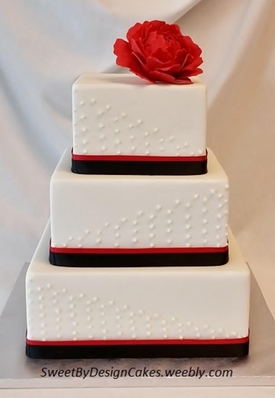 Red And Black Wedding Cake With Peony   CakeCentral com