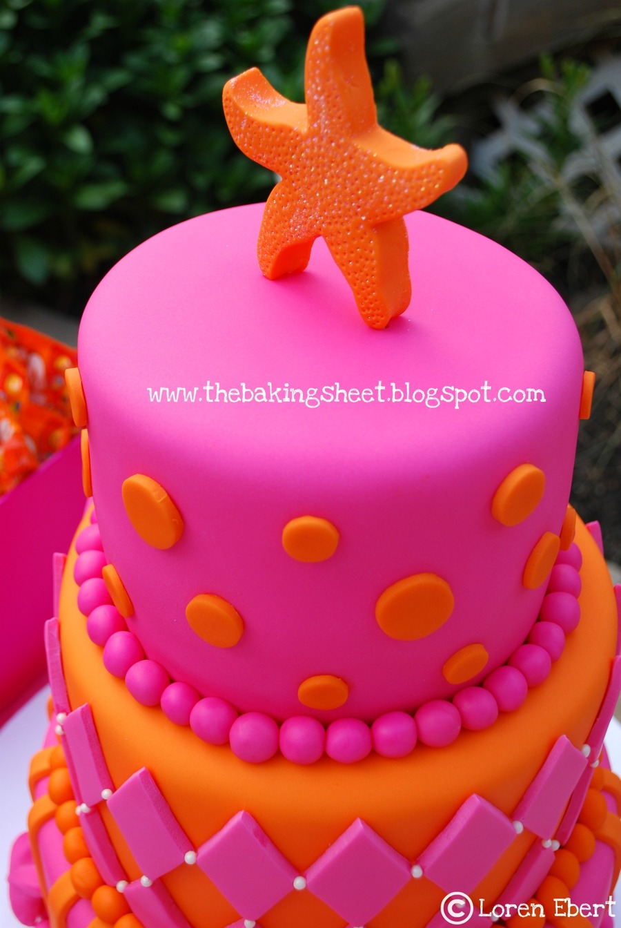 Tropical Theme Pink Amp Orange Sweet 16 Cake Cakecentral Com