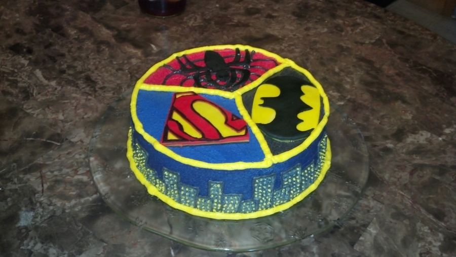 Spiderman Superman Batman Cake Cakecentral Com