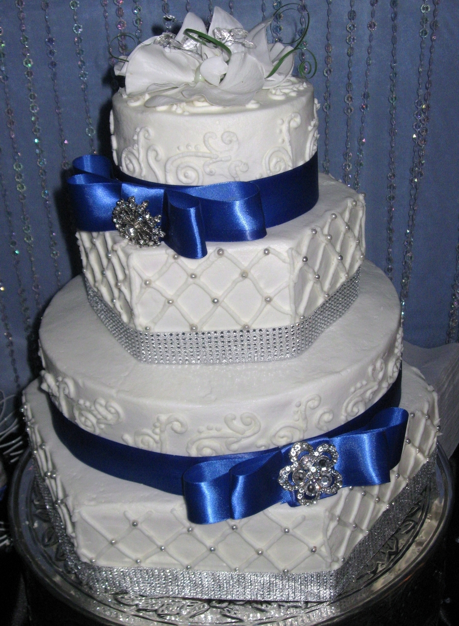 Hexagon Royal Blue Wedding Cake
