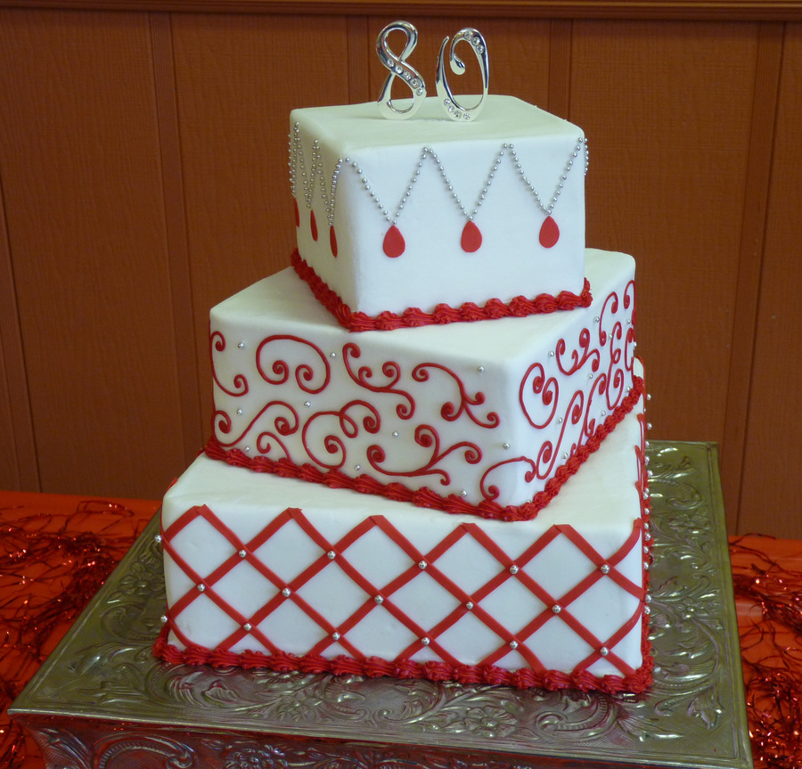 Red And White 80th Birthday Cakecentral Com
