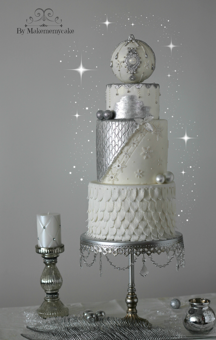 The Cake Has Only Two Colors The Silver Is Hand Painted