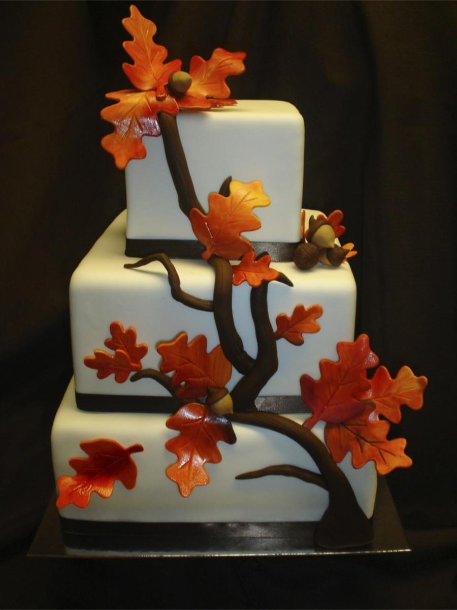 Fall Elegance Square Wedding Cake