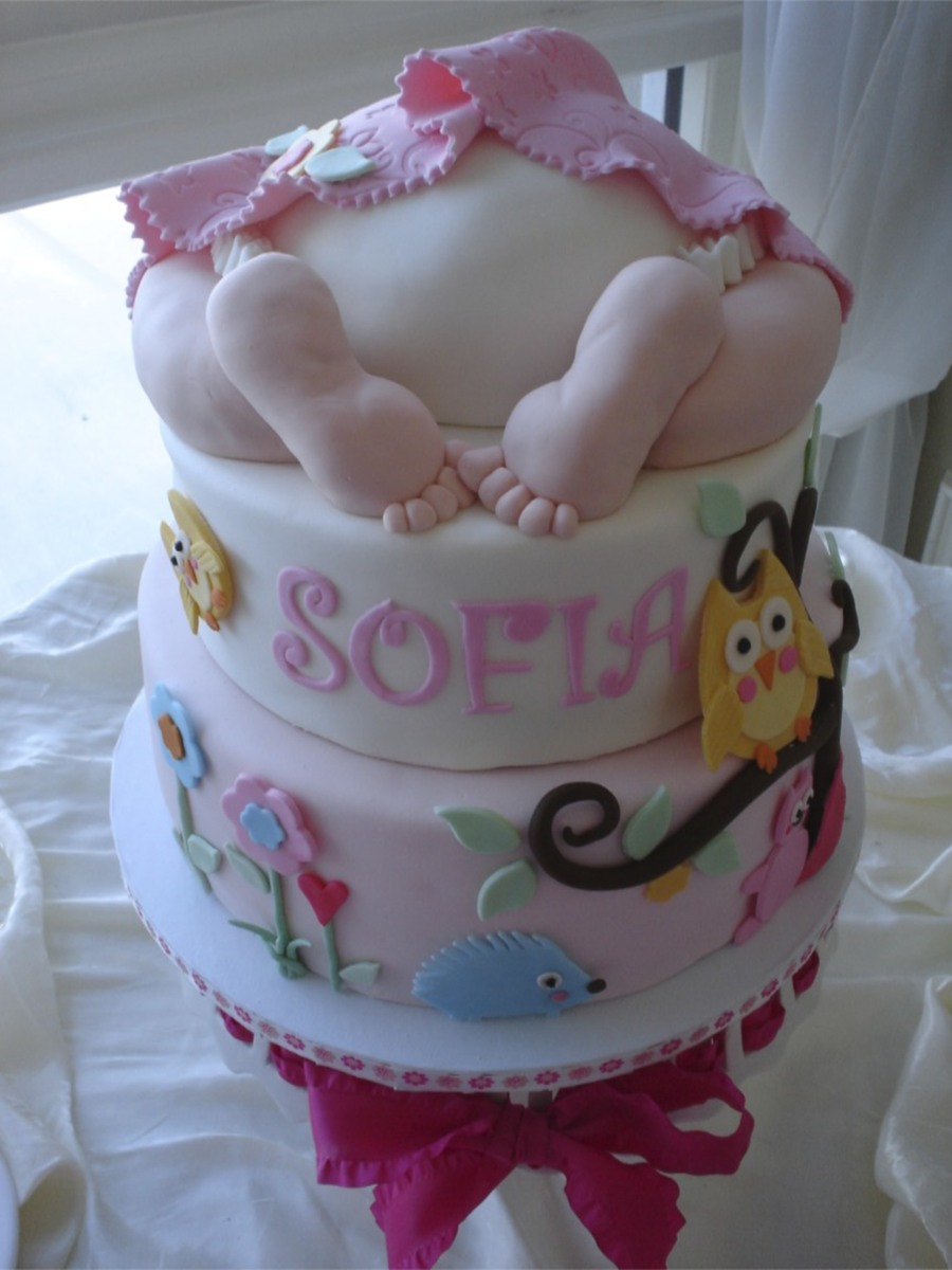 Baby Shower Rump Cake With Forest Animals Cakecentral Com