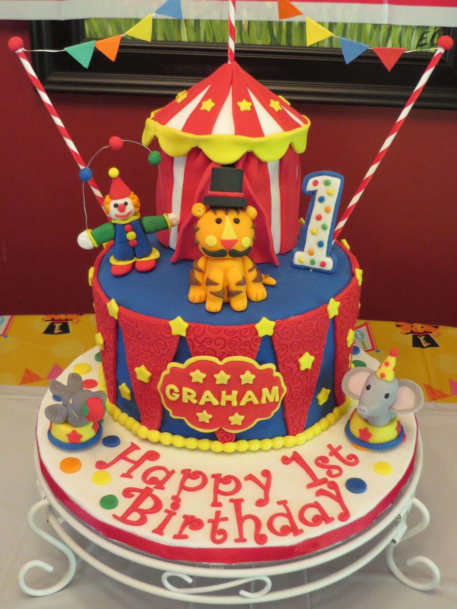 Circus Theme Cake For My Grandsons First Birthday 8 Vanilla Cake Wvanilla Icing And Circus Tent Is 4 Chocolate Cake W Vanilla Icing Cakecentral Com