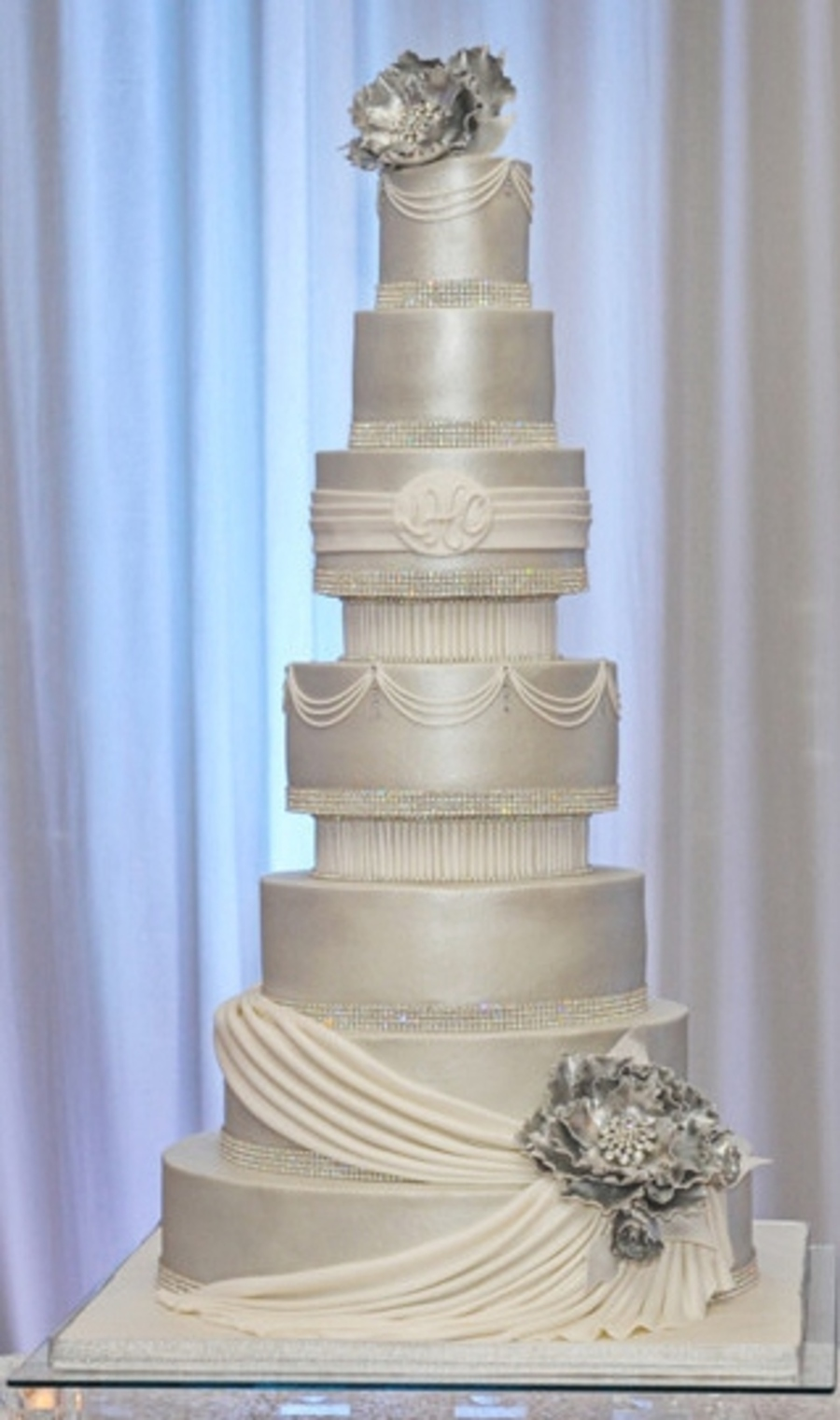 Buttercream Cake Airbrushed With Pearl Dust Swags And