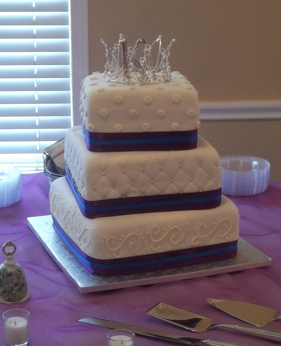 Royal Purple And Royal Blue Wedding Cake   CakeCentral com Favorites