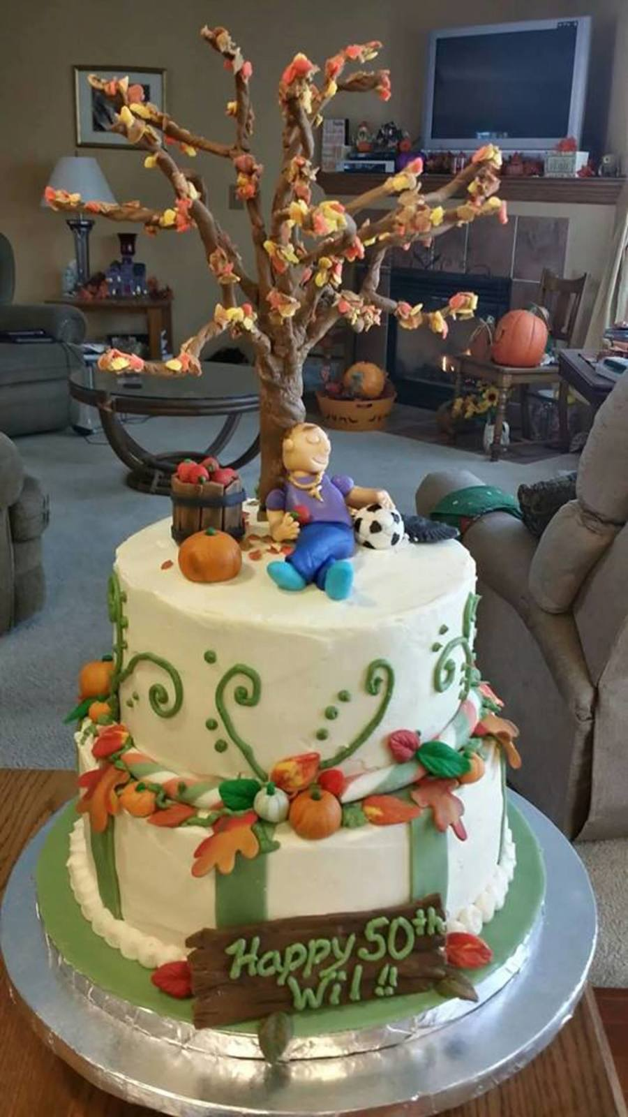 Fall Theme Birthday Cake With Fondant Tree Cakecentral Com
