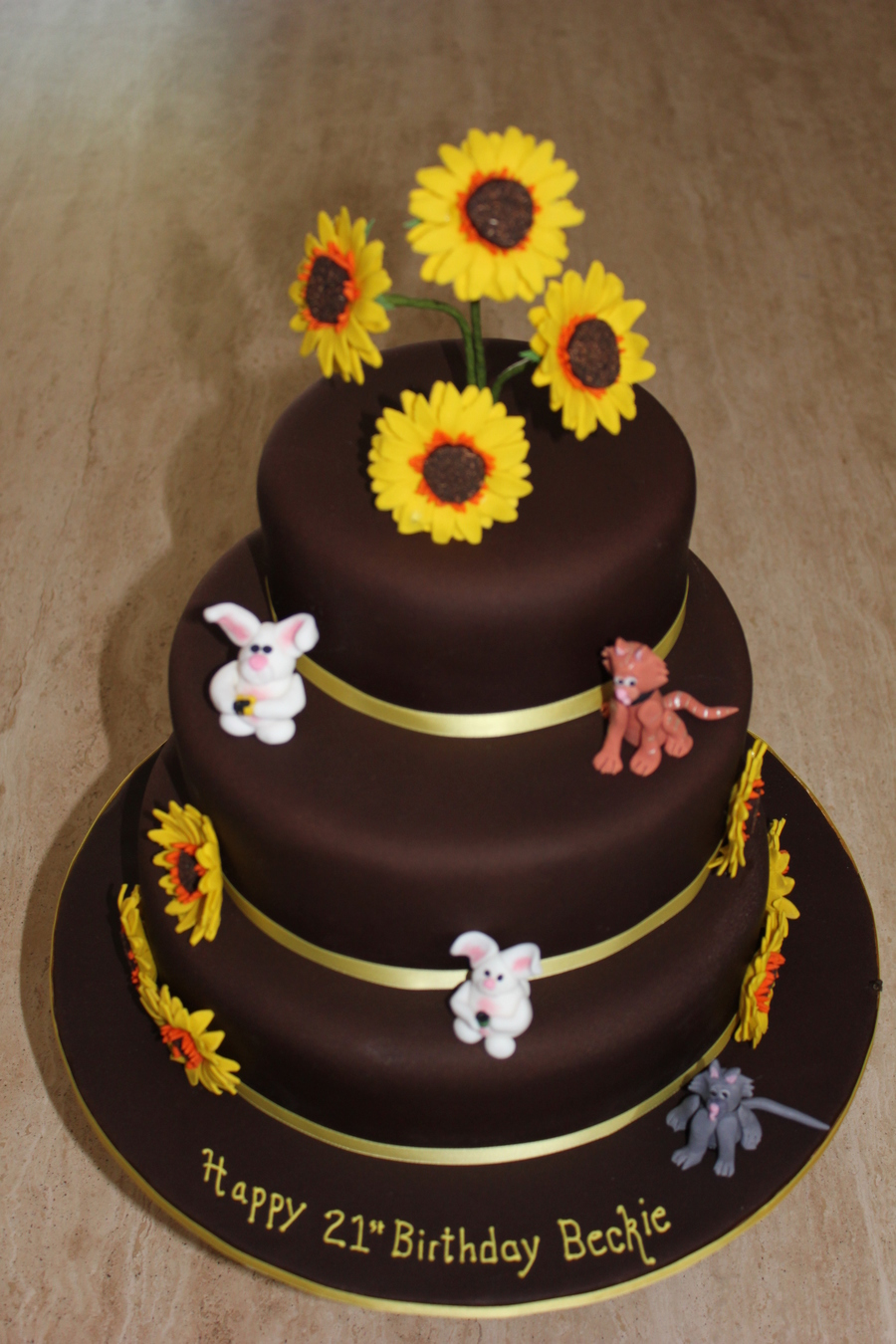 Sunflowers Cats And Rabbits 3 Tier Chocolate Cake