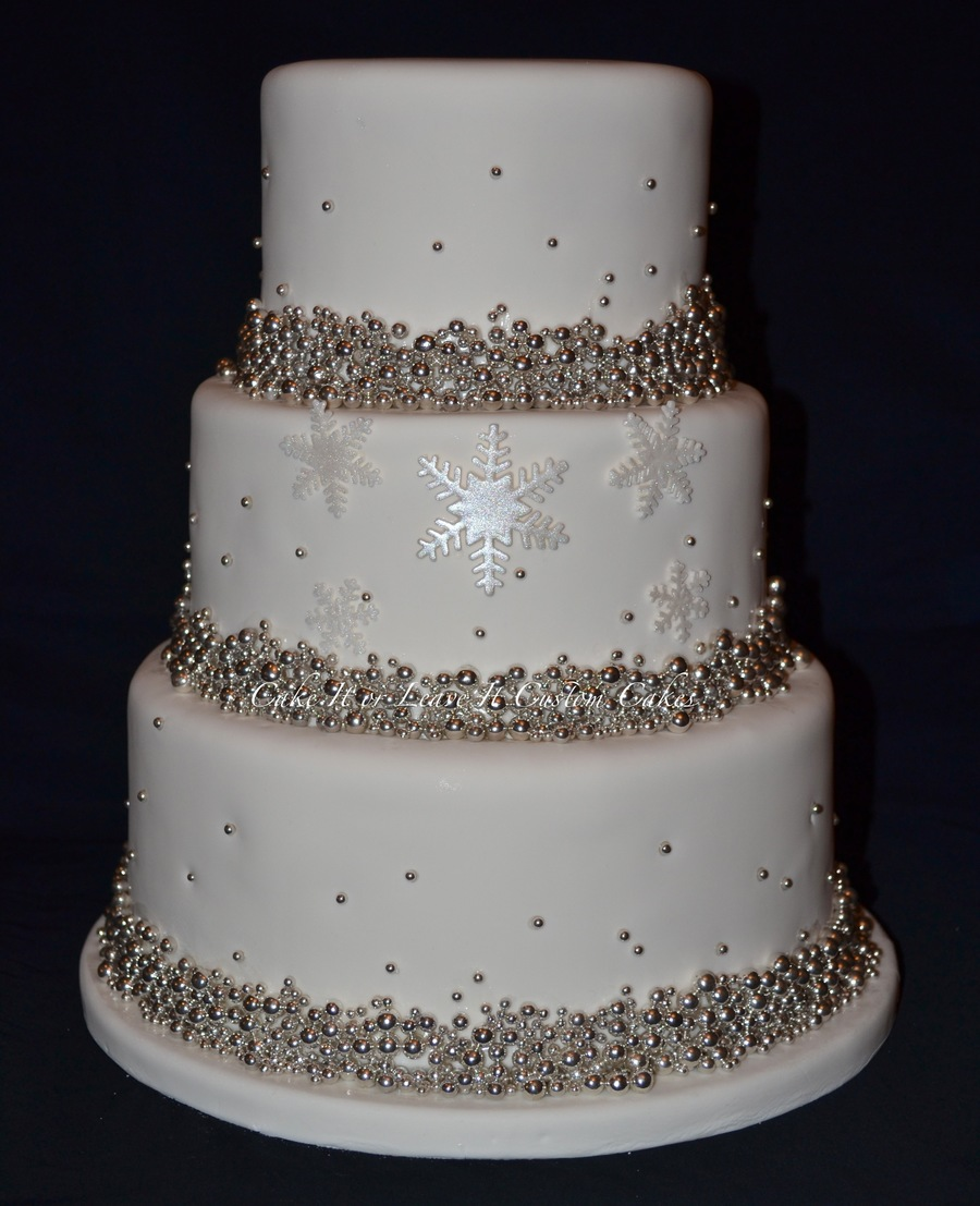 Ivory And Silver Wedding Cake Covered In A Million Dragees