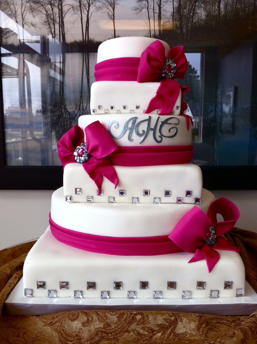 Fuchsia And White Wedding Cake