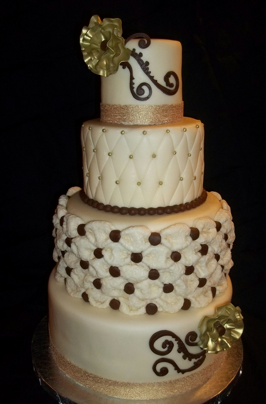 Four Tier Ivory Gold And Brown Wedding Cake