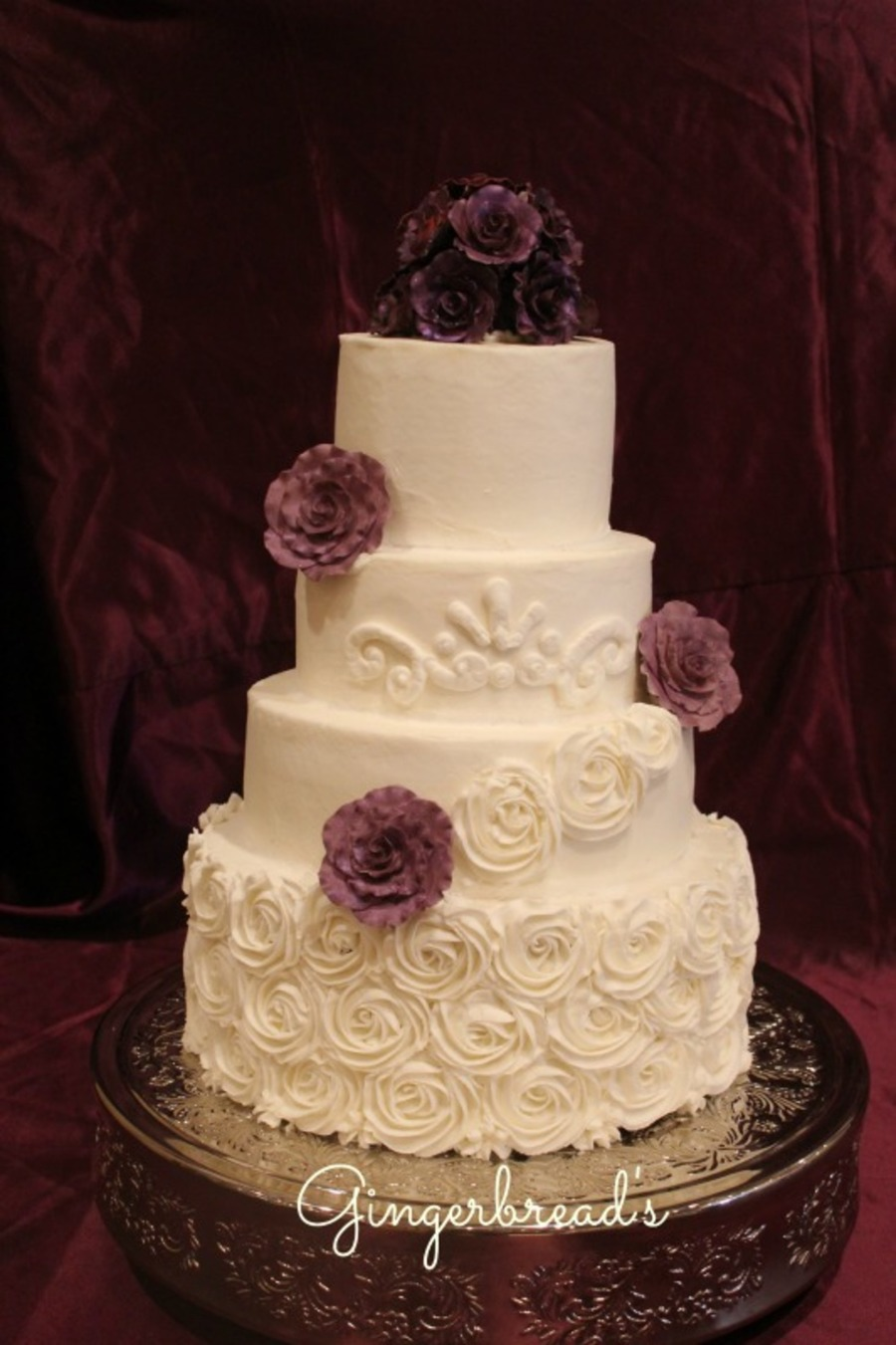 Plum Wedding Cake With Buttercream Rosettes