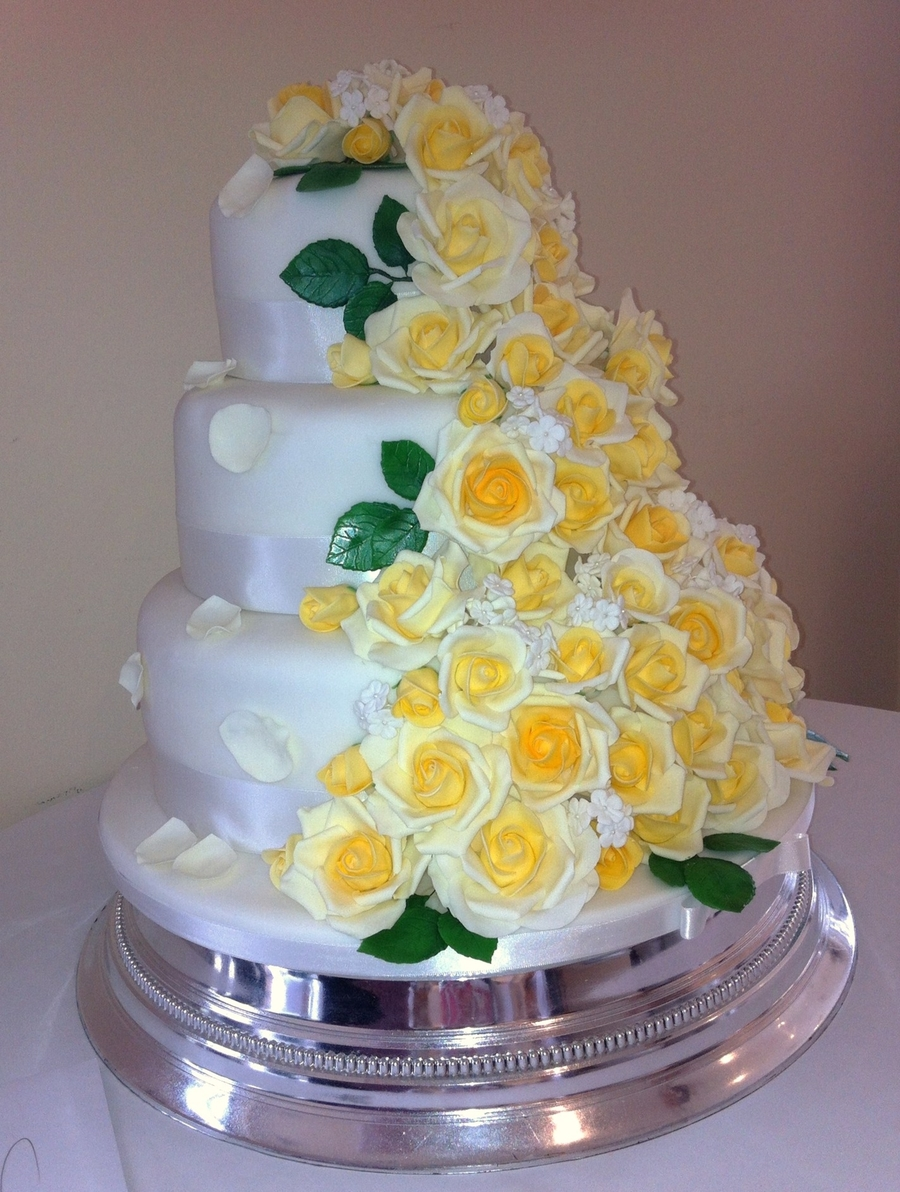 Cascading Yellow Roses Wedding Cake   CakeCentral com