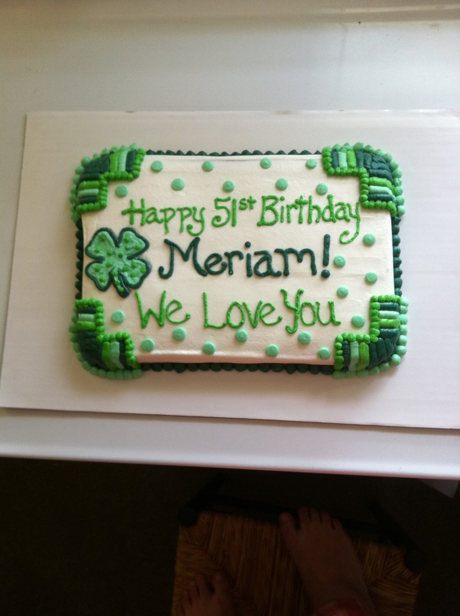 Happy Birthday St Patty S Day Cake Cakecentral Com