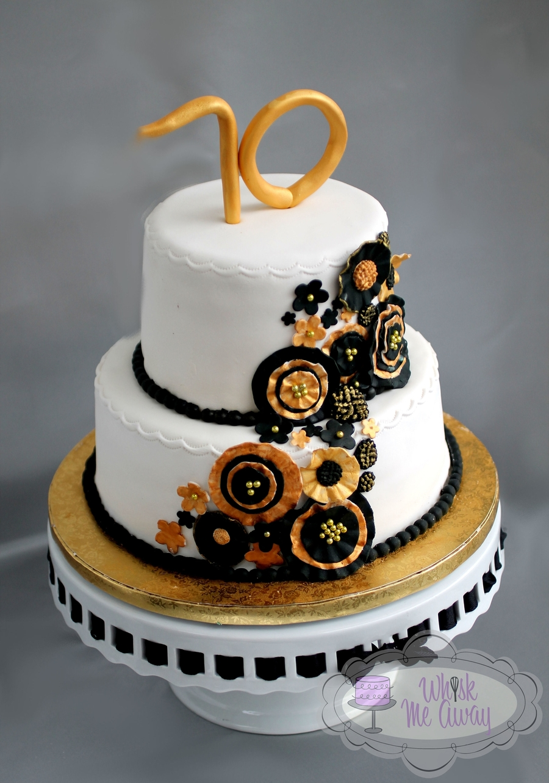 Black Amp Gold Ruffled Flower Cake Cakecentral Com