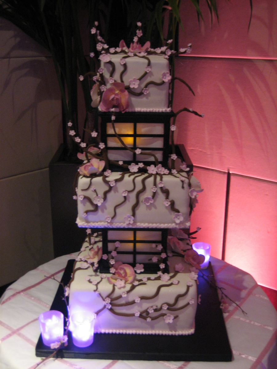 Cherry Blossom Lantern Wedding Cake Lights Up