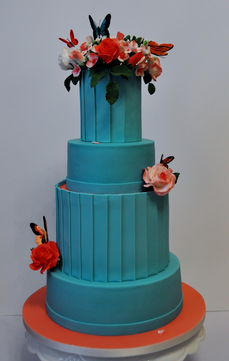 Turquoise Coral Wedding Cake Cakecentral Com