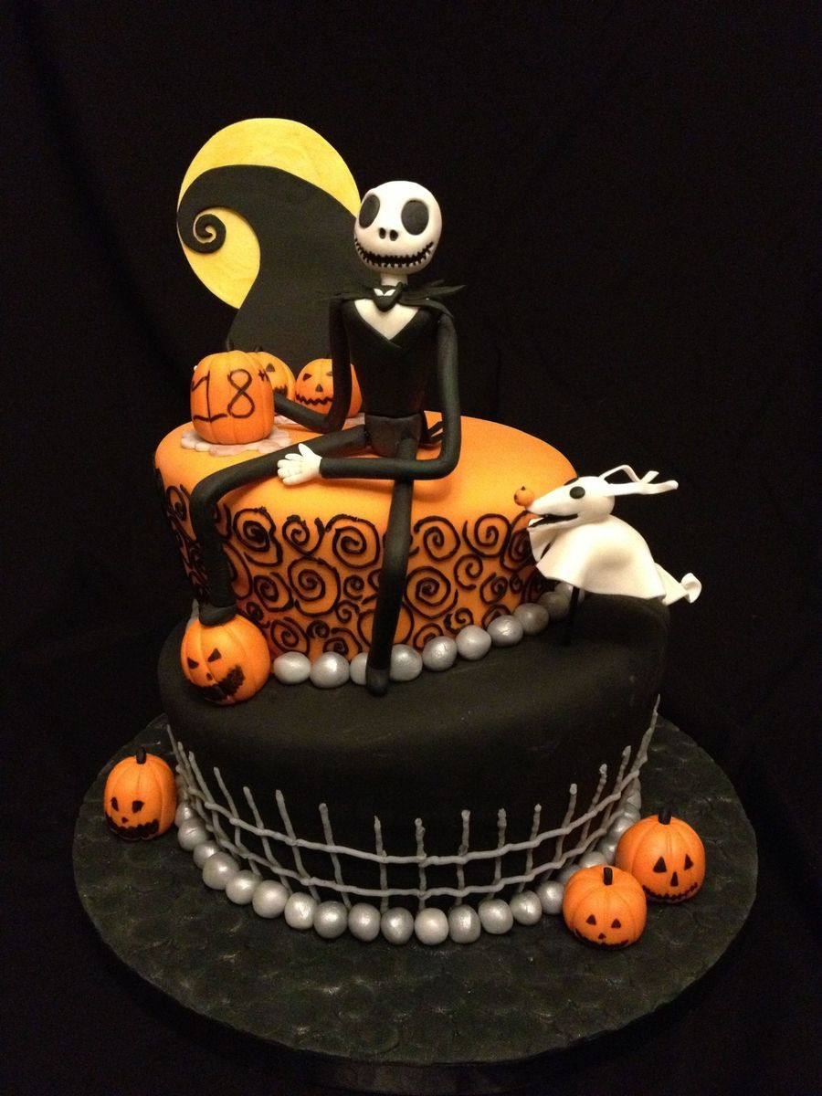 Nightmare Before Christmas Themed Birthday Cake This Cake Design Was Recreated From A Photo That Was Requested I Made A Few Changes But T Cakecentral Com