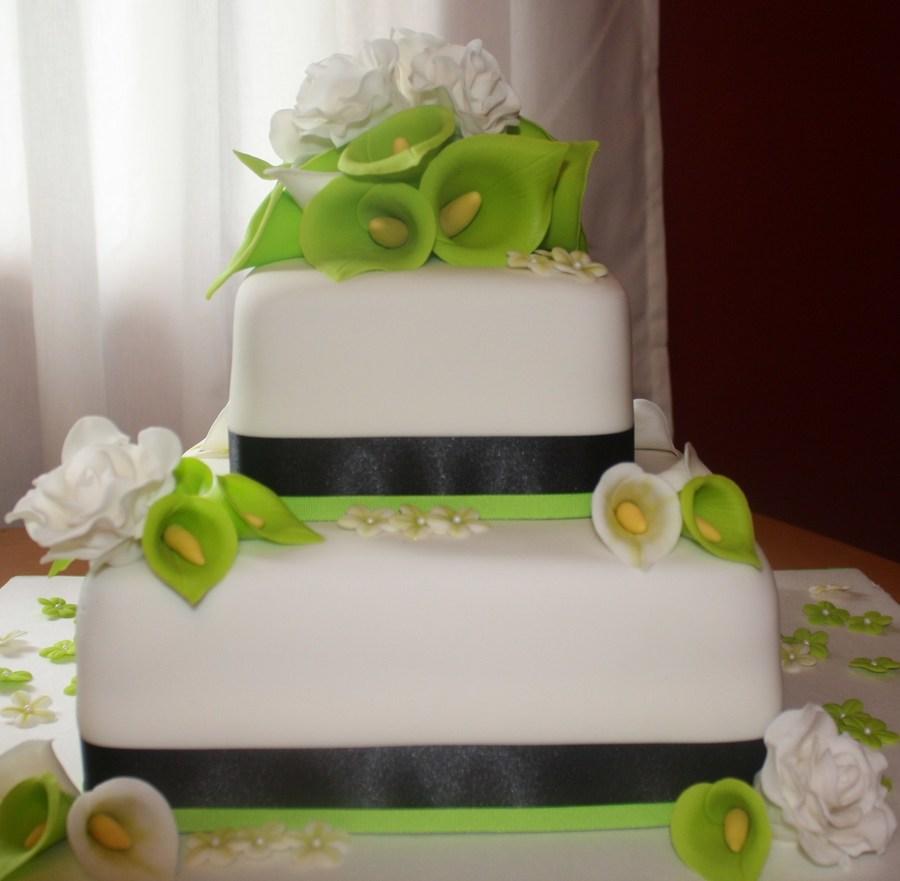 Lime Green And Black Wedding Cake